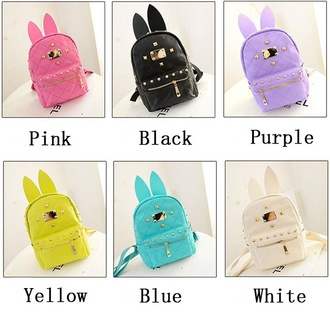 bag girly yellow stud hipster bunny
