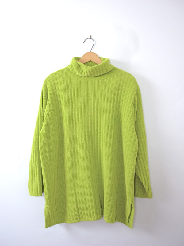 Vintage 80's neon green turtleneck sweater, chunky knit, sweater ...