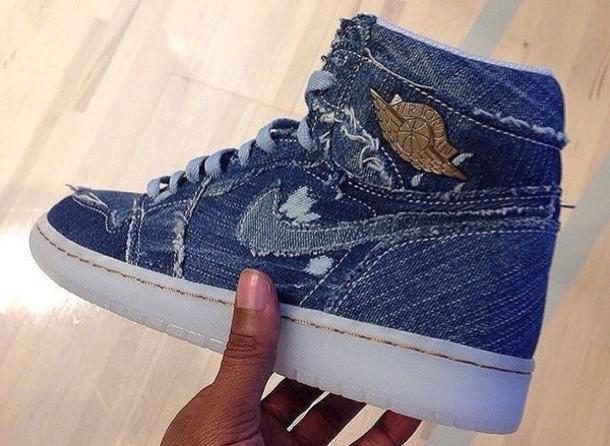 07c487b0b512 shoes jordans air jordan nike air force 1 blue jeans patch jordan flight 45  blue white