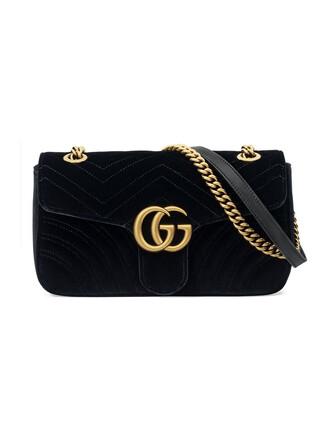 metal women bag shoulder bag black velvet