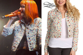 white jacket denim jacket color/pattern lovely hayley williams paramore orange hair