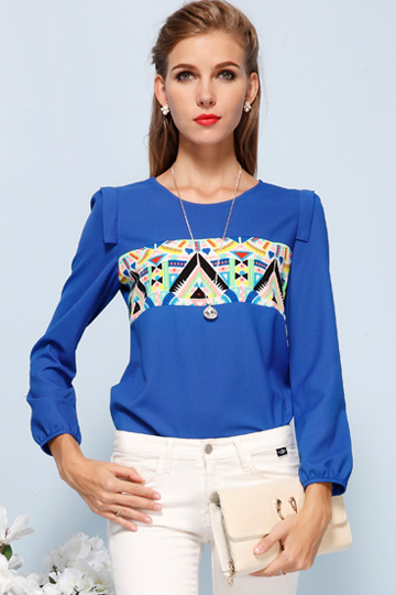 Colors Triangle Chiffon Shirt in Blue [FDBI00573] - PersunMall.com
