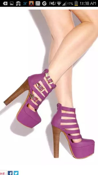 Shoes: purple shoes, black heels, chunky heels, chunky platform ...