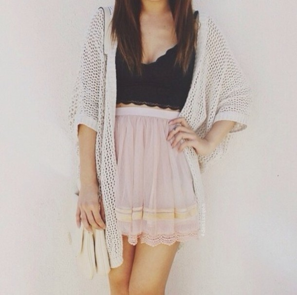 Skirt tank top sweater pastel tumblr tumblr clothes summer crop tops knitted sweater ...
