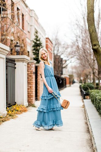 kelly in the city - a preppy chicago life style and fashion blog blogger dress skirt bag shoes jewels maxi dress blue dress high heel pumps pumps