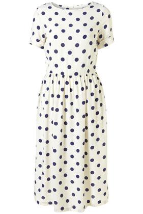 Cream spot midi dress