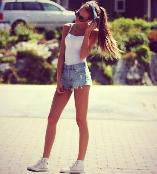 shorts girl summer summer outfits hair accessory tank top shoes top