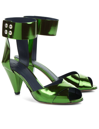 metallic sandals green shoes
