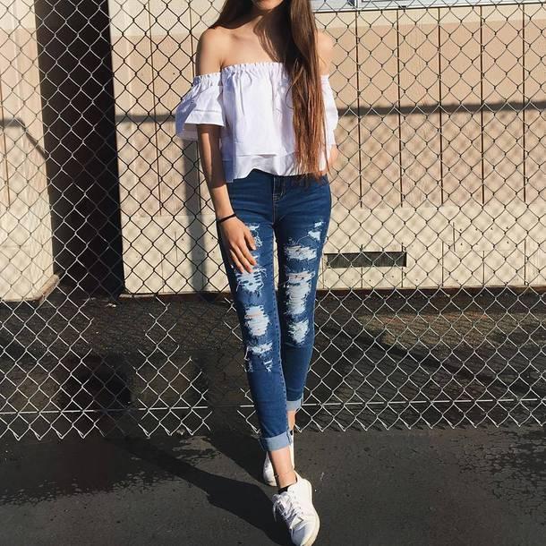 Denim skinny jeans tumblr