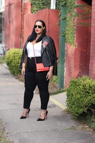 jacket plus size jeans curvy plus size top white top plus size top black jeans pumps pointed toe pumps high heel pumps black heels black jacket studded jacket black leather jacket leather jacket sunglasses bag red bag crossbody bag spring outfits