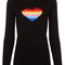 Black wool rainbow heart jumper