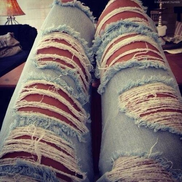 jeans ripped jeans light loveit blue denim hot pants summer outfits destroyed skinny jeans