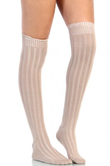 OMG Knee High Socks - Beige