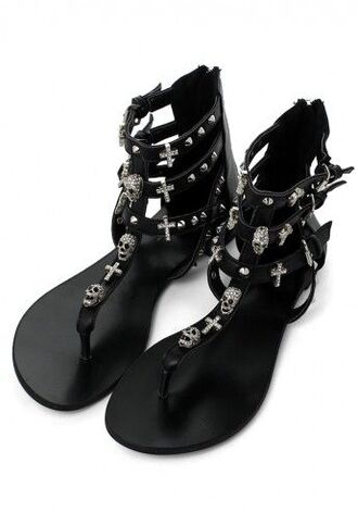shoes punk edgy goth skull cross studs gladiators flats silver