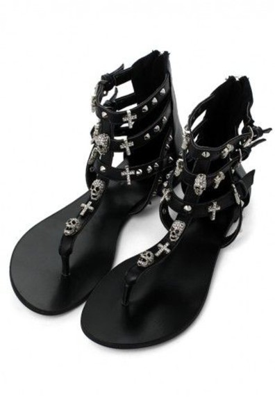 silver goth punk edgy shoes studs skull cross gladiator sandals flats