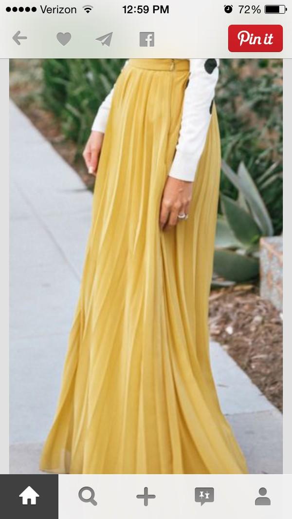 skirt long skirt yellow skirt maxi skirt pleated skirt