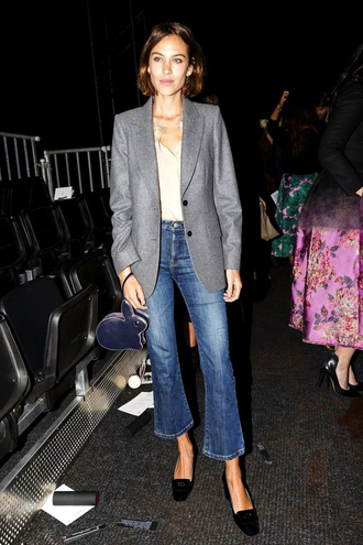 le fashion image blogger jacket blouse bag jeans shoes kick flare jeans kick flare blue jeans top white top blazer grey blazer black shoes alexa chung cropped bootcut jeans cropped bootcut blue jeans
