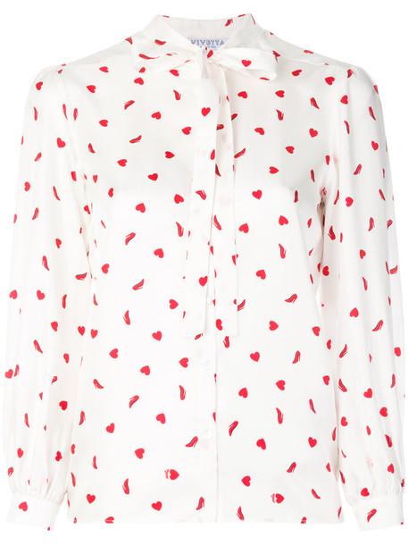 VIVETTA blouse heart women white print silk top