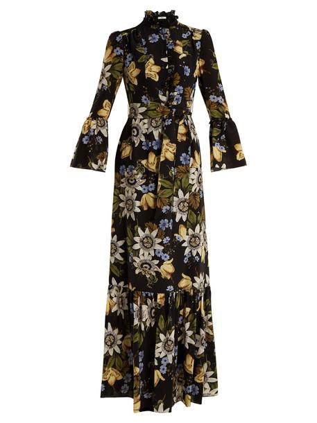 Erdem gown floral print silk black dress