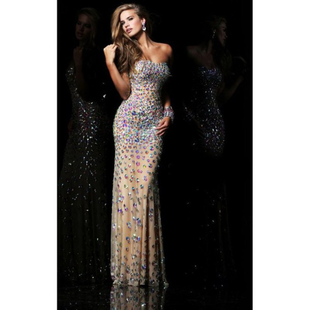 dress nude sparkly dress sequin dress prom dress