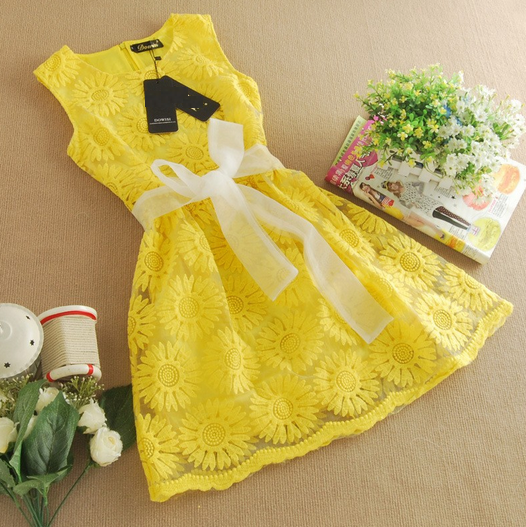 Organza Embroidery Yellow Fashion Lace Flower Sleeveless O Neck Girls Dress