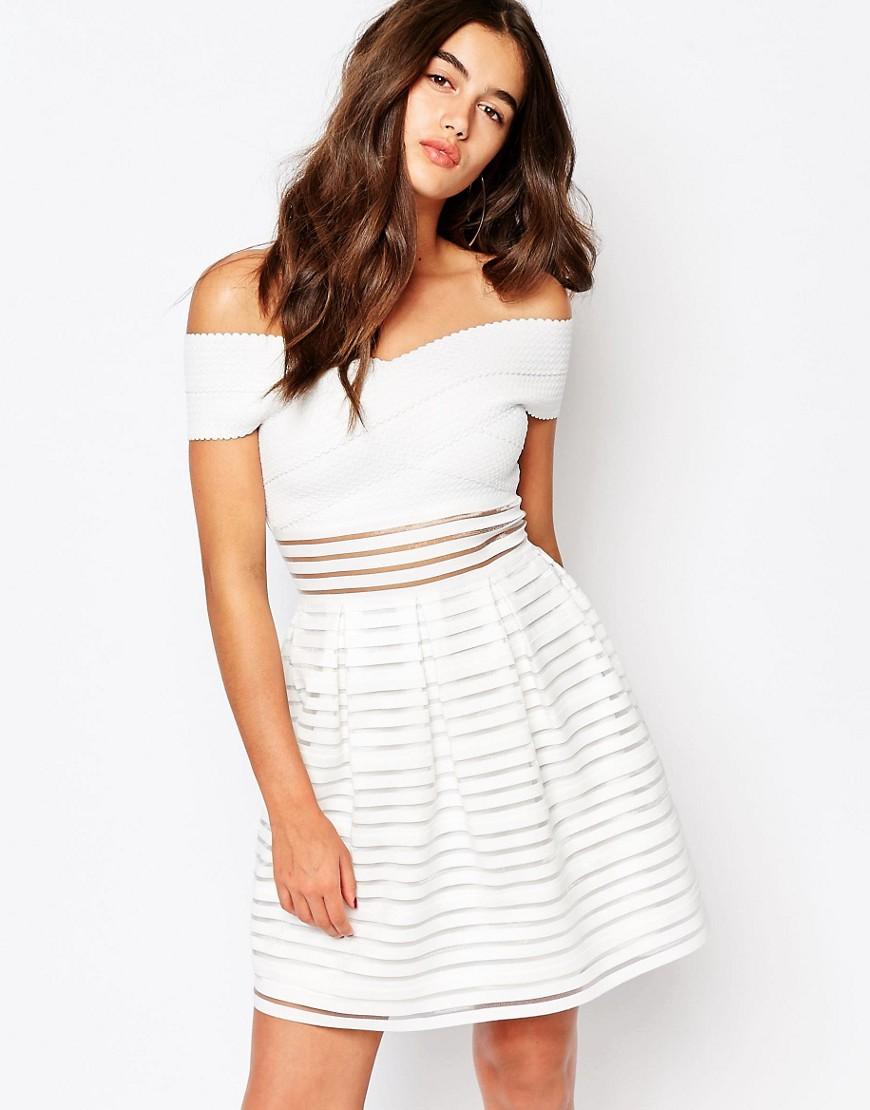 Missguided Off the Shoulder Bandage Skater Dress at asos.com