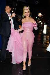 jumpsuit,pants,top,pink,strapless