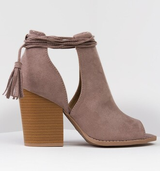 shoes taupe booties peep toe booties sandals spring