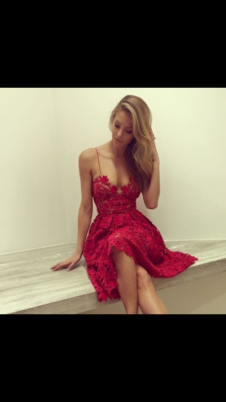 dress red lace red lace races fashion mid length red dress strappy