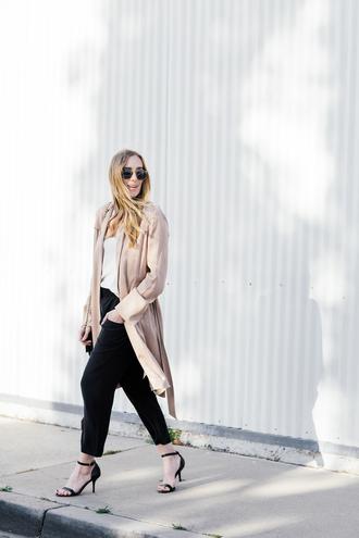 eat sleep wear blogger coat pants top shoes bag sandals high heel sandals trench coat beige coat