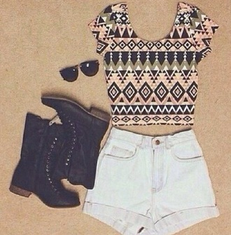 top black boots cute top shorts boots clothes summer top summer shorts summer clothing sunglasses shoes