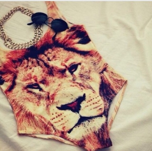 swimwear swimmingcostume lion gold chain swimsuit bodysuit pattern