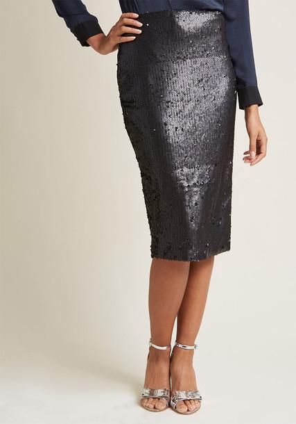 IM17F1436 skirt black pencil skirt pencil skirt back matte midi black sequins