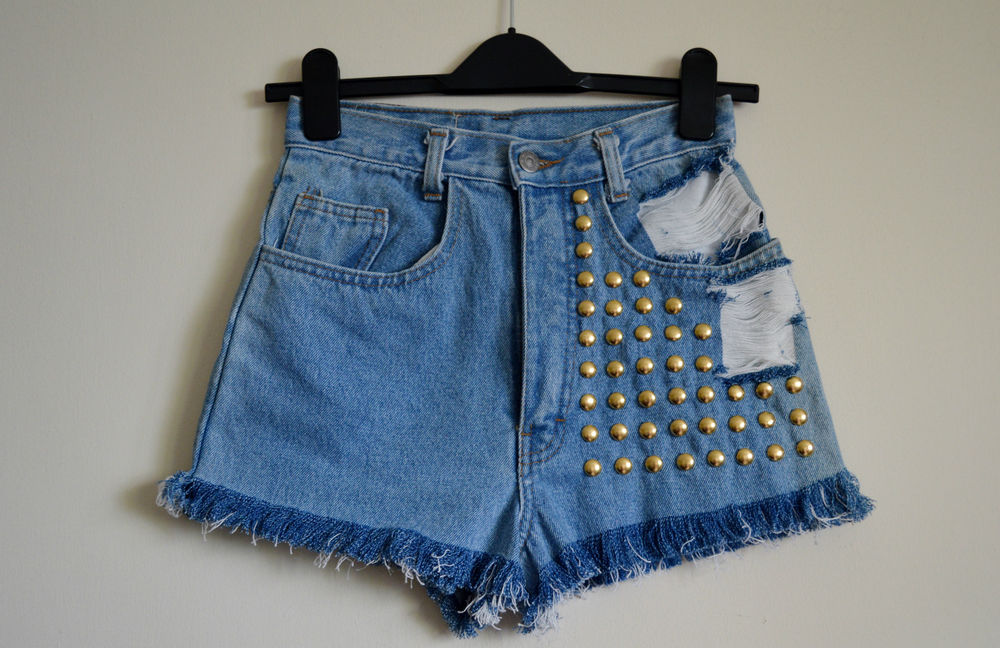 90's Grunge Hipster high waist Destroyed denim shorts Studded Size 6/8/12 | eBay