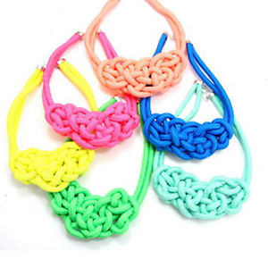 Beautiful handmade woven chinese knot cotton rope fluorescent color necklace