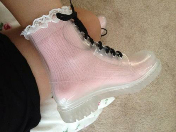 shoes pastel goth cute wellies socks black shoe laces transparent shoes
