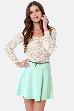 Mint Blue Skirt - Mini Skirt - Skater Skirt - $25.00