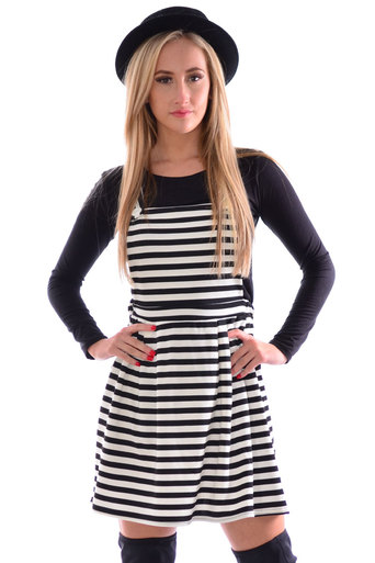 Ladies Diana Stripe Pinafore Dress | Pop Couture