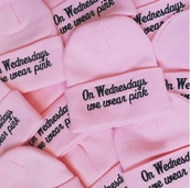 hat,pink,beanie,mean girls,on wednesdays we wear pink,pink beanie,black,cute,hair accessory,cute beanies,on wensdays we wear pinkk,mean girls quote,hats and beanies,urban pastel pink,fashion,fall outfits,trendy,cool,quote on it,it girl shop