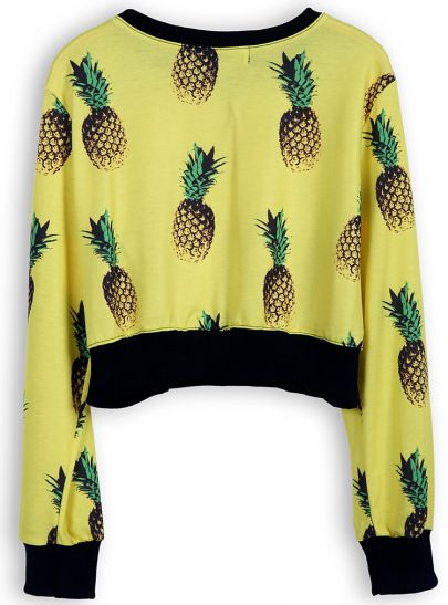 Yellow Long Sleeve Pineapple Print Crop Sweatshirt
