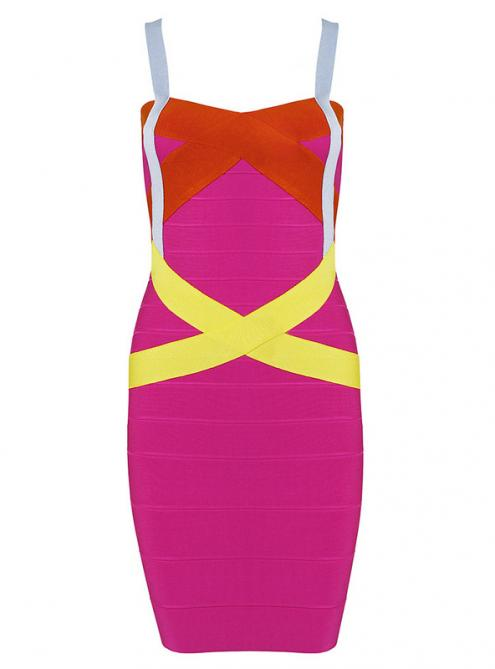 Colorful Strap Bandage Dress HL047$109
