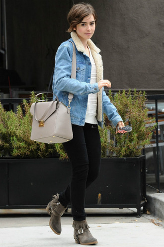 shoes ankle boots lily collins pants jacket sweater