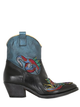embroidered boots leather boots leather blue black shoes