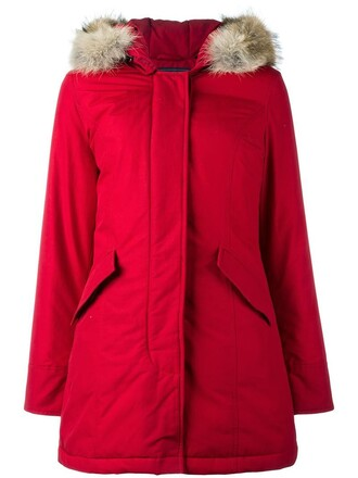 coat parka fur women cotton red