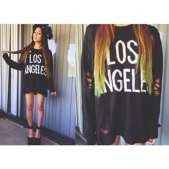 distressed sweater losangeles black winter winter sweaters