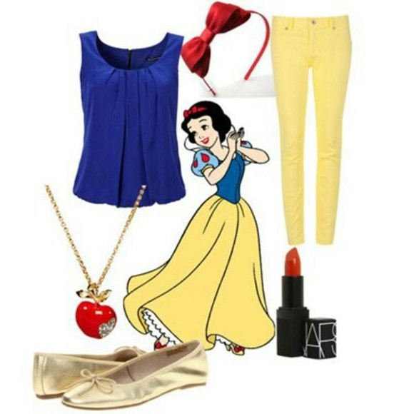 snow white disney blouse neaklace flats pants headband