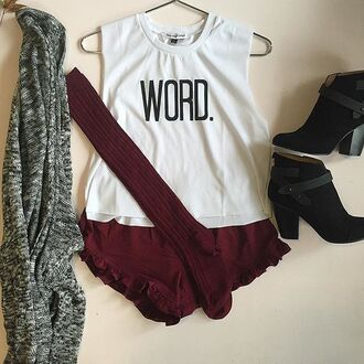 shirt divergence clothing graphic tee white graphic tee burgandy shorts over the knee socks knee high socks 90s style caridgan oversized sweater oversized cardigan fall outfits grunge ruffle shorts 28719 graphic tank top graphic t shirt graphic top