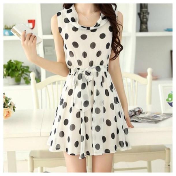 Dress polka dots cute dress cute girly fashion party dress kawaii skater style fall ...