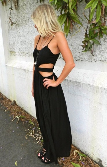 dress little black dress maxi dress black maxi dress cut-out cut-out dress black maxi cut offs sexy long