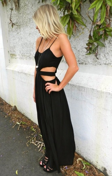 dress little black dress maxi dress black maxi dress cut-out cut-out dress black maxi cut offs sexy long open dress long dress